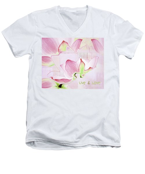 Men's V-Neck T-Shirt featuring the digital art Live N Love - Absf17 by Variance Collections