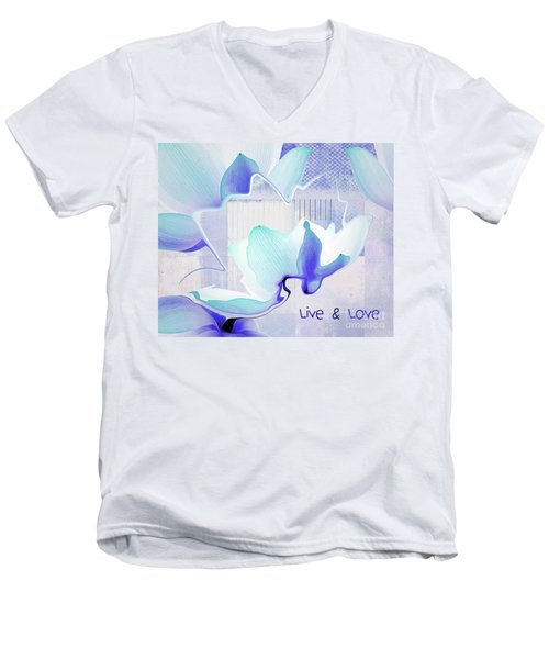 Men's V-Neck T-Shirt featuring the photograph Live N Love - Absf43 by Variance Collections