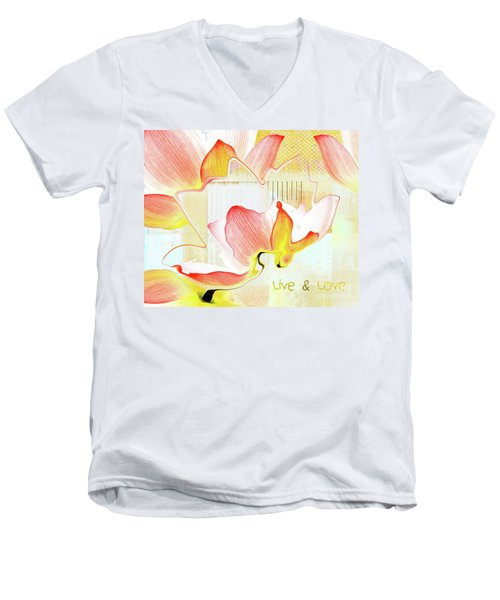 Men's V-Neck T-Shirt featuring the photograph Live N Love - Absf44b by Variance Collections