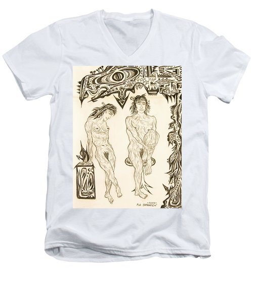 Live Nude 10 Female Men's V-Neck T-Shirt by Robert SORENSEN
