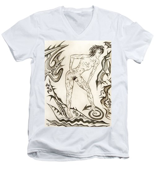 Live Nude 3 Female Men's V-Neck T-Shirt by Robert SORENSEN