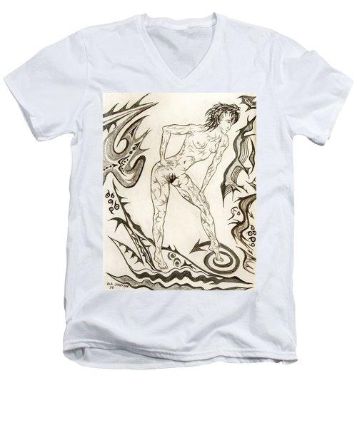 Live Nude 3 Female Men's V-Neck T-Shirt