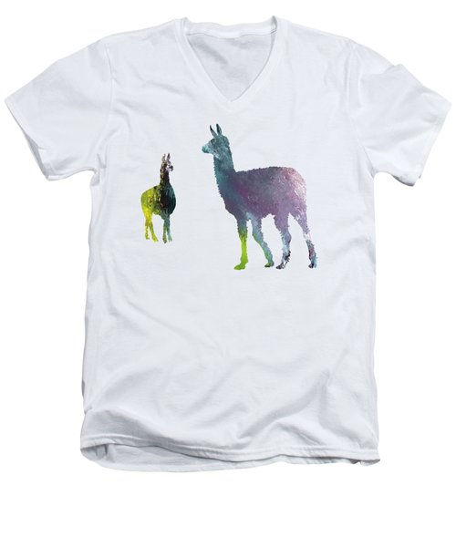 Llama Men's V-Neck T-Shirt by Mordax Furittus