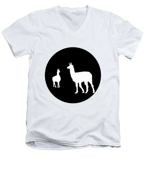 Llamas Men's V-Neck T-Shirt by Mordax Furittus