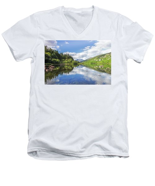 Llyn Mymbyr And Snowdon Men's V-Neck T-Shirt by Ian Mitchell