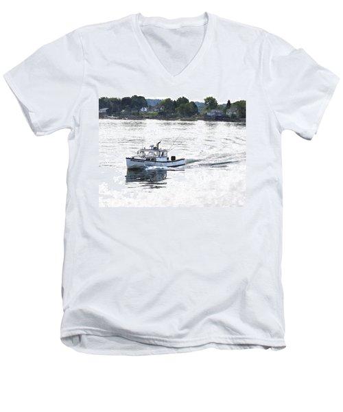 Lobster Boat Lbwc Men's V-Neck T-Shirt by Jim Brage