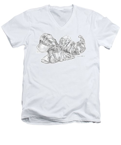 Lobster Shell Drawing Men's V-Neck T-Shirt