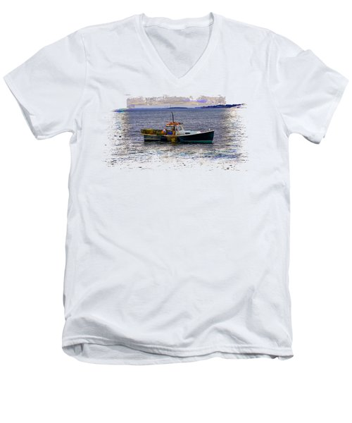 Lobstermen Men's V-Neck T-Shirt by John M Bailey