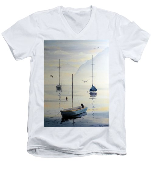 Locarno Boats In February Men's V-Neck T-Shirt by David Gilmore