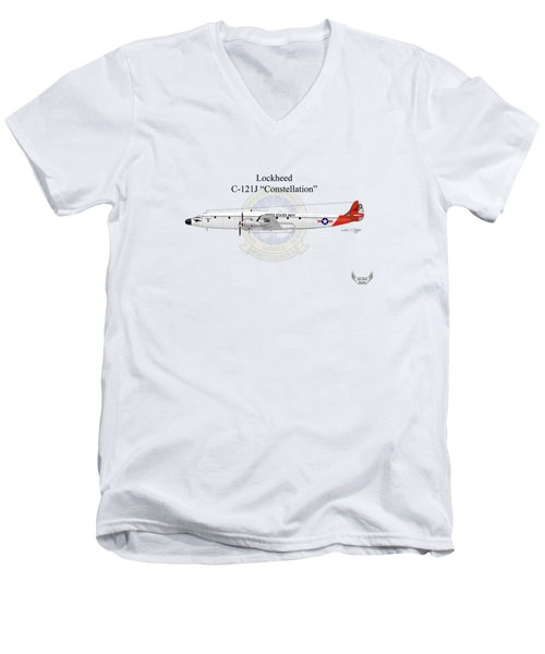 Men's V-Neck T-Shirt featuring the digital art Lockheed C-121j Constellation by Arthur Eggers