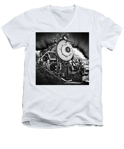 Locomotive Nine Men's V-Neck T-Shirt by Marius Sipa