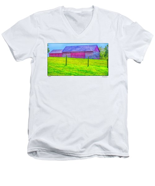 Men's V-Neck T-Shirt featuring the photograph Log Barn by R Thomas Berner