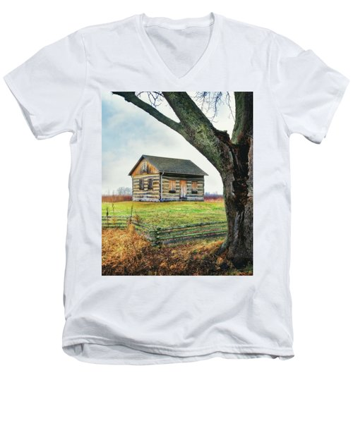 Men's V-Neck T-Shirt featuring the photograph Log Cabin - Paradise Springs - Kettle Moraine State Forest by Jennifer Rondinelli Reilly - Fine Art Photography