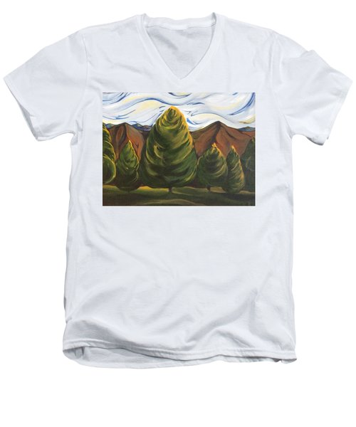 Lollipop Trees Men's V-Neck T-Shirt by Pat Purdy
