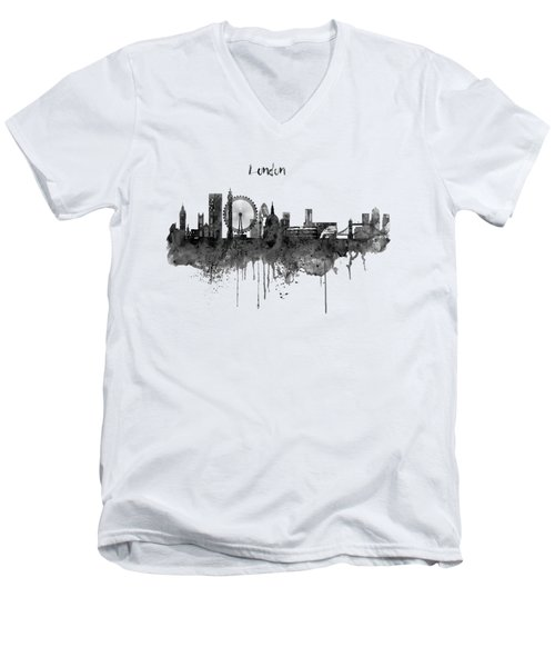 London Black And White Skyline Watercolor Men's V-Neck T-Shirt by Marian Voicu