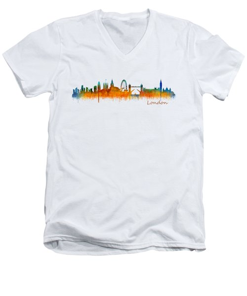 London City Skyline Hq V2 Men's V-Neck T-Shirt