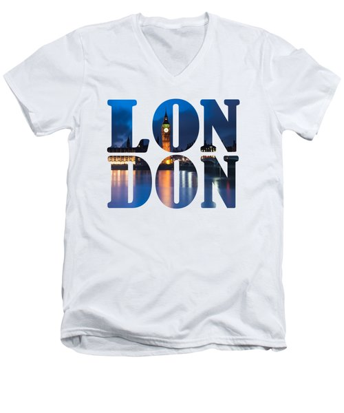 London Letters Men's V-Neck T-Shirt