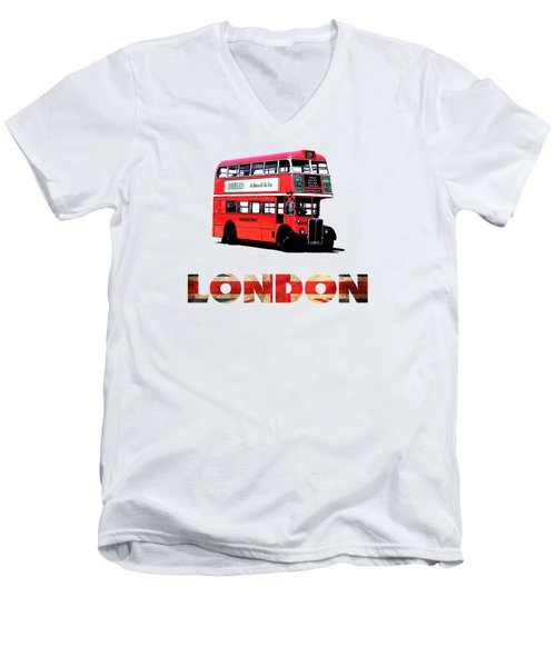 London Red Double Decker Bus Tee Men's V-Neck T-Shirt