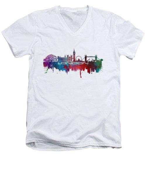 London Skyline City Blue Men's V-Neck T-Shirt by Justyna JBJart