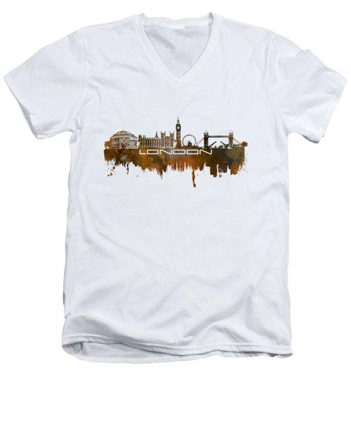 London Skyline City Brown Men's V-Neck T-Shirt by Justyna JBJart