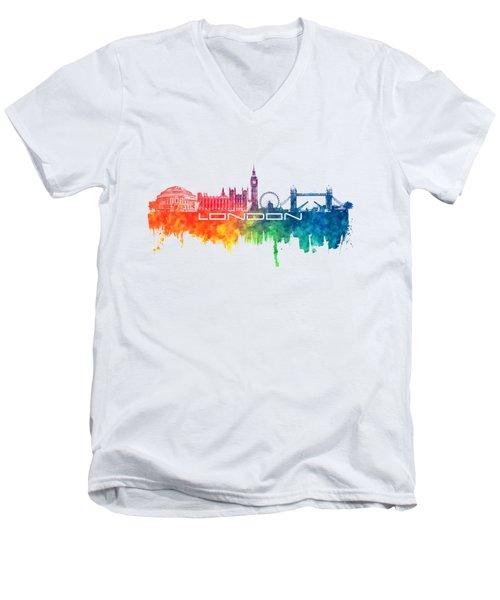 London Skyline City Color Men's V-Neck T-Shirt by Justyna JBJart