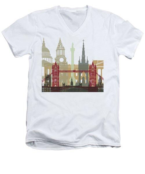 London Skyline Poster Men's V-Neck T-Shirt