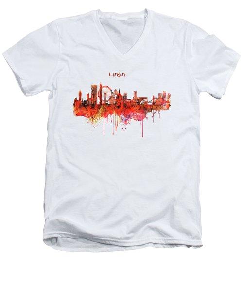 London Skyline Watercolor Men's V-Neck T-Shirt