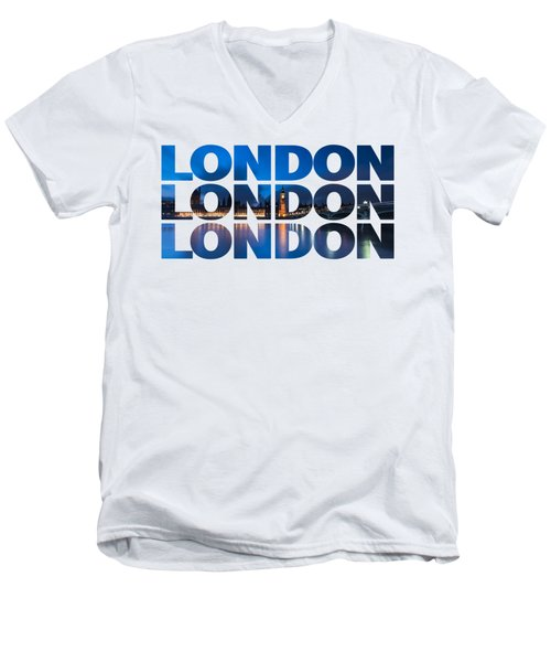 London Text Men's V-Neck T-Shirt