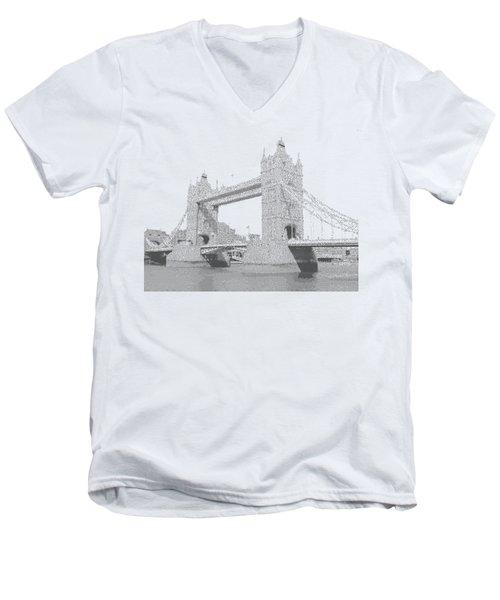 London Tower Bridge - Cross Hatching Men's V-Neck T-Shirt