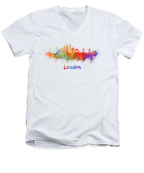 London V2 Skyline In Watercolor  Men's V-Neck T-Shirt by Pablo Romero