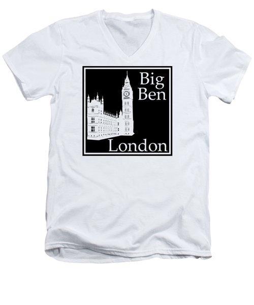 London's Big Ben In Black Men's V-Neck T-Shirt