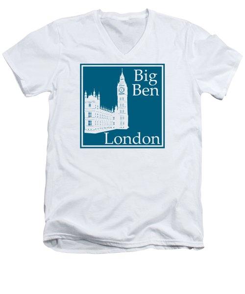 London's Big Ben In Blue Lagoon Men's V-Neck T-Shirt by Custom Home Fashions