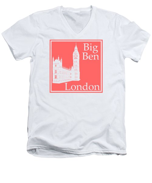 London's Big Ben In Coral Pink Men's V-Neck T-Shirt by Custom Home Fashions