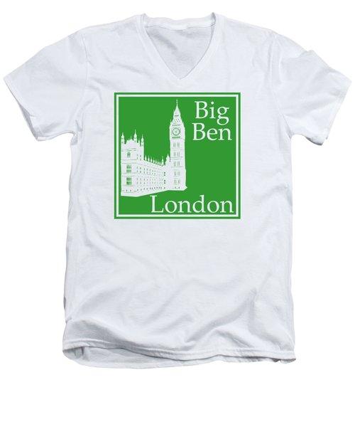 London's Big Ben In Dublin Green Men's V-Neck T-Shirt by Custom Home Fashions