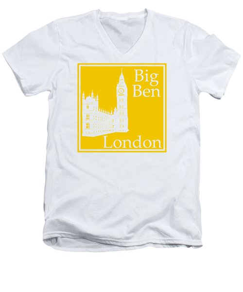 London's Big Ben In Mustard Yellow Men's V-Neck T-Shirt by Custom Home Fashions