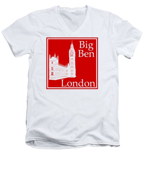 London's Big Ben In Red Men's V-Neck T-Shirt by Custom Home Fashions