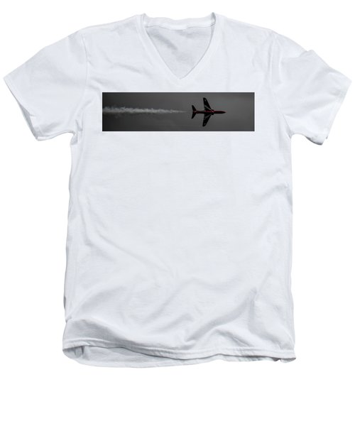 Lone Red Arrow Smoke Trail - Teesside Airshow 2016 Men's V-Neck T-Shirt by Scott Lyons