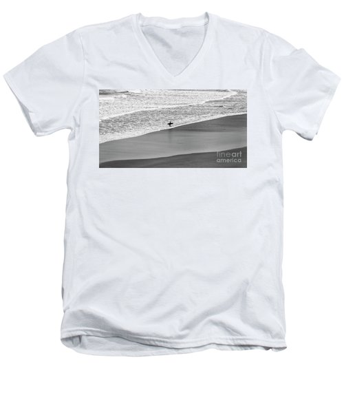 Men's V-Neck T-Shirt featuring the photograph Lone Surfer by Nicholas Burningham