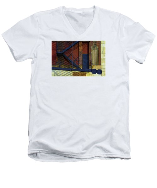 Lonely Days Parking Garage V2 Men's V-Neck T-Shirt by Raymond Kunst