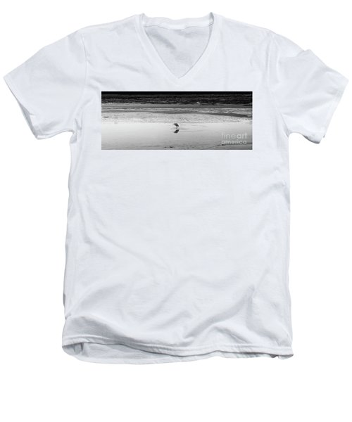 Men's V-Neck T-Shirt featuring the photograph Lonely Heron by Nicholas Burningham