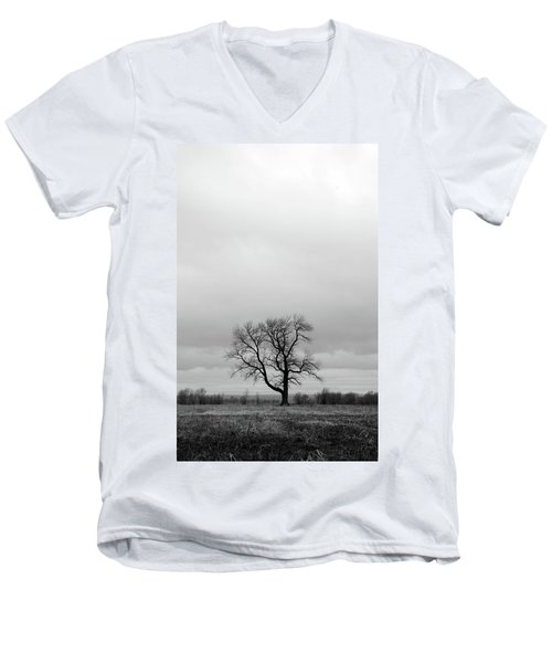 Lonely Tree In A Spring Field Men's V-Neck T-Shirt by GoodMood Art