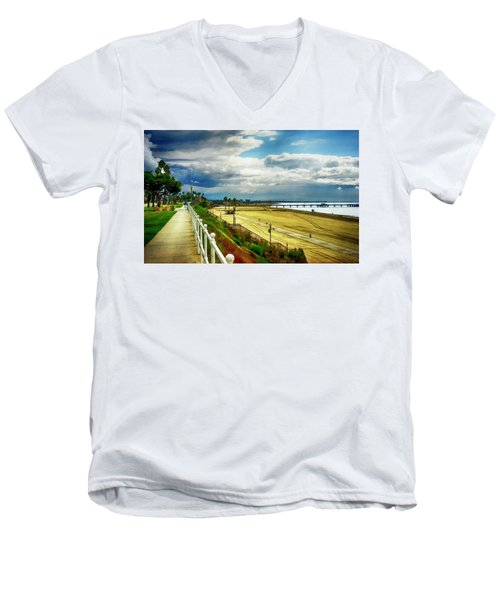Men's V-Neck T-Shirt featuring the photograph Long Beach Bluff Park by Joseph Hollingsworth