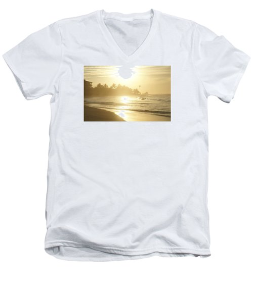 Men's V-Neck T-Shirt featuring the photograph Long Beach Kogalla by Christian Zesewitz