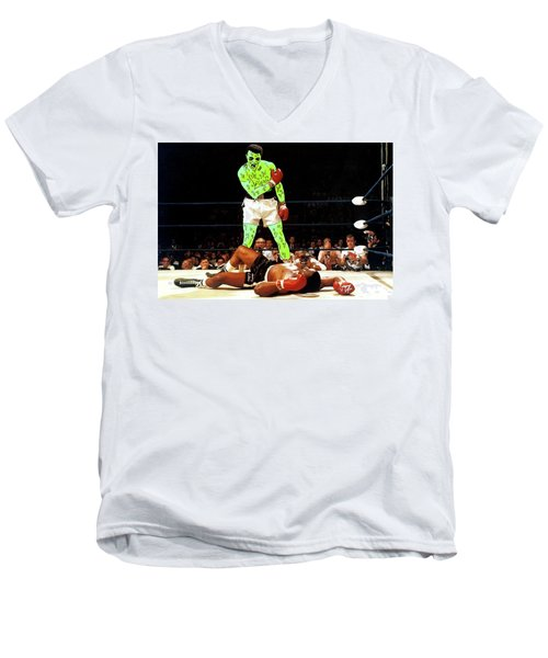Men's V-Neck T-Shirt featuring the painting Long Live Ali by Chief Hachibi