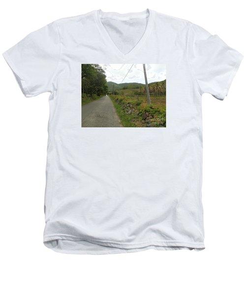 Long Road Into Colombier Men's V-Neck T-Shirt by Margaret Brooks