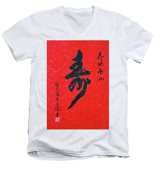 Longevity Men's V-Neck T-Shirt by Yufeng Wang
