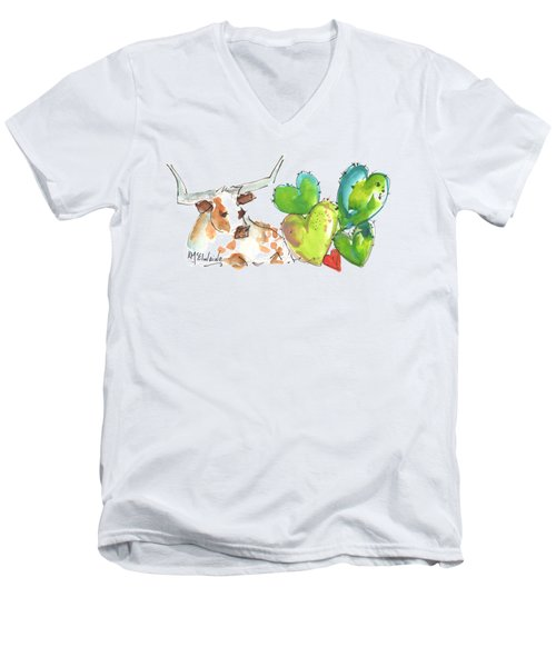 Longhorn And Valentine Cactus Men's V-Neck T-Shirt