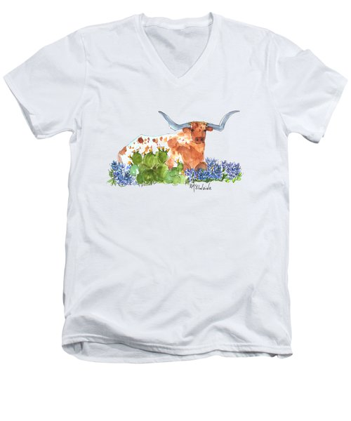 Longhorn In The Cactus And Bluebonnets Lh014 Kathleen Mcelwaine Men's V-Neck T-Shirt by Kathleen McElwaine