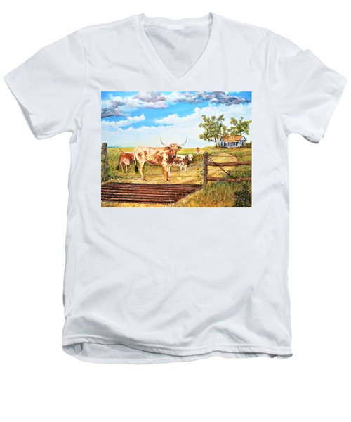 Longhorn Stand Off Your Place Or Mine Men's V-Neck T-Shirt