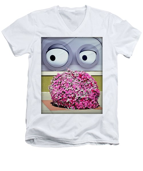 Men's V-Neck T-Shirt featuring the photograph Look At Those Flowers by AJ Schibig